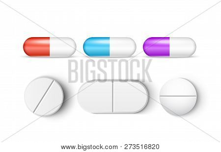 Pills medicine capsule vector icon isolated set. Pharmacy pill treatment painkiller or vitamin medicine. poster