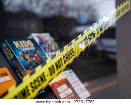 Strasbourg, France - Dec 8, 2018: Police Scene Do Not Cross Sign On The Store Selling Diverse Books