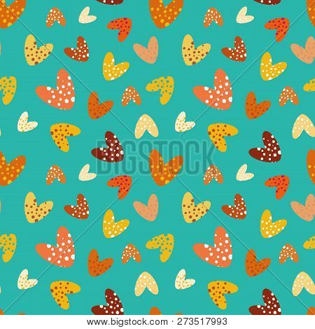 Funky Bubbly Hearts On Turquoise Background Vector Seamless Pattern. Great Decor For Girls, Giftwrap