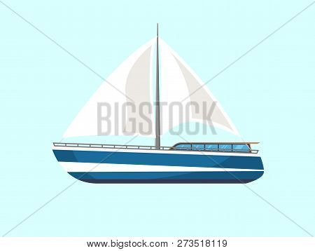 Boat Or Yacht Isolated Sail Icon. Cruise Vector Flat Yacht For Ocean Or Sea Travel.