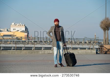 Moving To New City Alone. Hipster Ready Enjoy Travel. Carry Travel Bag. Man Bearded Hipster Travel W