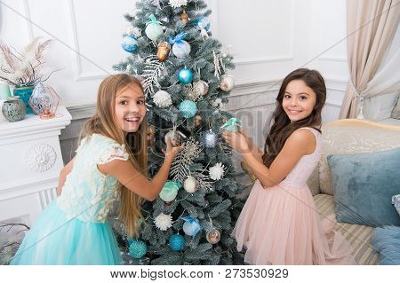 Delivery Christmas Gifts. Happy New Year. Happy Little Girls Sisters Celebrate Winter Holiday. Chris
