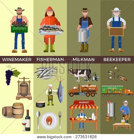Set Of People Of Different Professions Together With Its Products: Winemaker, Fisherman, Milkman And