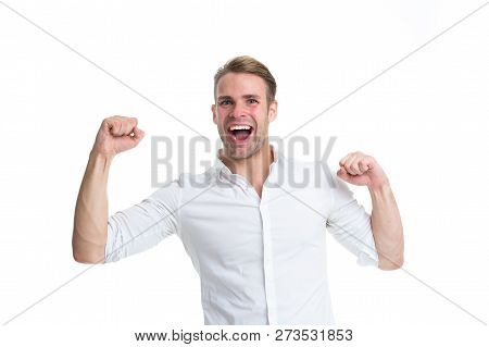 Toward Success. Strong And Full Of Energy. Man Strong Handsome Unshaven Guy. Man With Muscular Arms