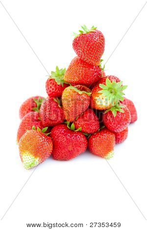 big juicy red ripe strawberries isolated on white poster