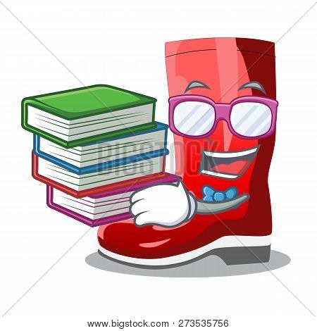 Student With Book Muddy Farmer Boots Shape The Cartoon