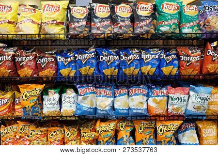 Las Vegas, Us - Nov 18, 2018: Wide Selection Of Potato Chip Or Junk Food On Shelf Display In A Conve