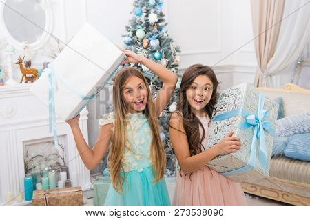 Delivery Christmas Gifts. Congratulating Their Nearest. Family Holiday. Happy New Year. Happy Little