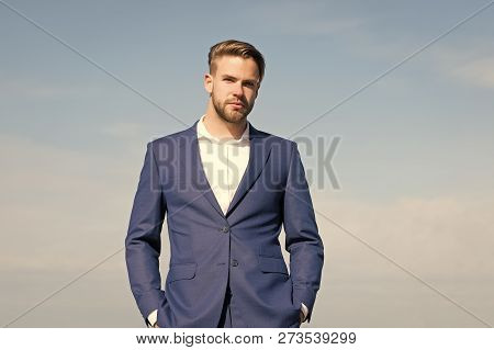 Man In Business Suit, Fashion. Businessman Stand On Blue Sky, Success. Success, Ambition, Freedom, A