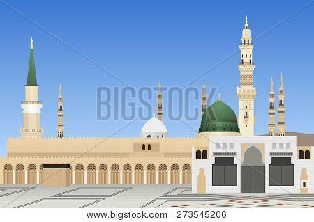 A Vector Illustration Of Medina Mosque In Saudi Arabia