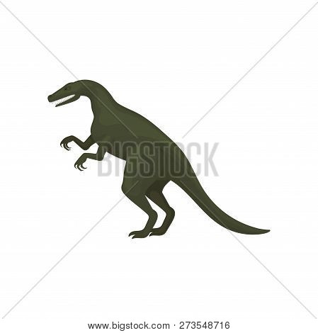 Flat Vector Design Of Troodon Or Velociraptor. Green Dinosaur Short Fore Paws, Long Tail And Sharp T