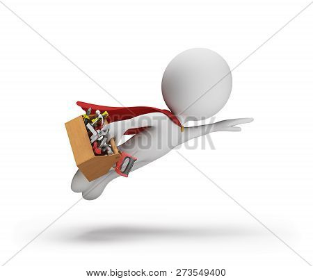 Superhero Repairman With A Tool In A Hurry To Help. 3d Image. White Background.
