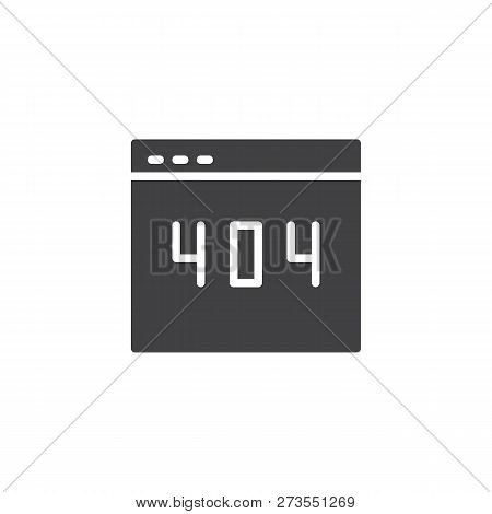 Error 404 Webpage Vector Icon. Filled Flat Sign For Mobile Concept And Web Design. 404 Error Page No