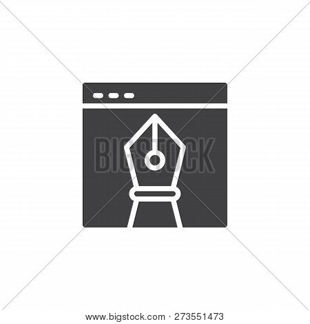 Browser Window And Vector Design Drawing Tool Vector Icon. Filled Flat Sign For Mobile Concept And W
