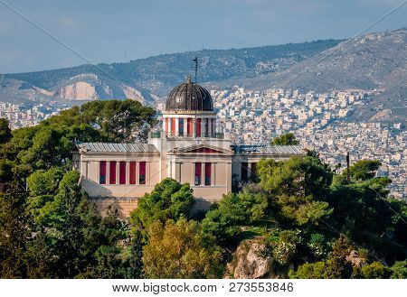 The National Observatory Of Greece, That Sits Atop Nymphs Hill In Thissio, Athens. The City Of Athen