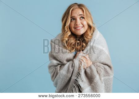 Image of gorgeous woman 20s wrapped in blanket looking at camera isolated over blue background poster