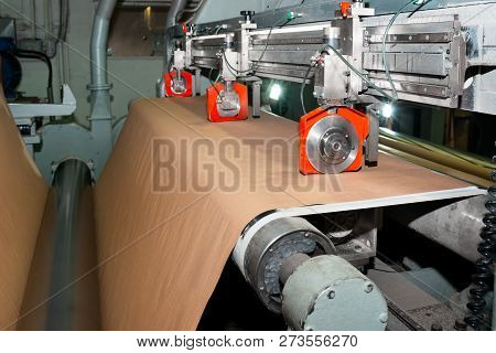 Paper Production Producing Packaging Paper And Cardboard From Waste Paper. Pneumatic Knives For Cutt