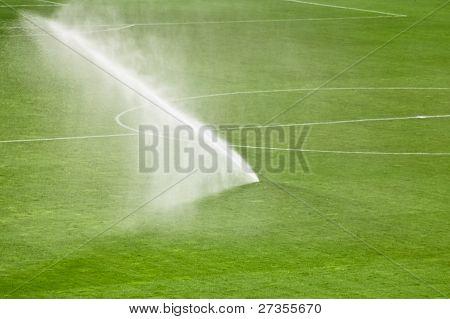 Sprinklerer On A Football Field