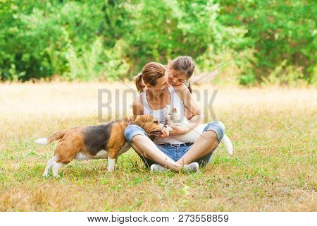Young Mother And Her Daughter Playing With Their Cat And Dog