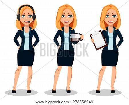 Business Woman In Office Style Clothes, Set Of Three Poses. Modern Lady Businesswoman Wearing Headse
