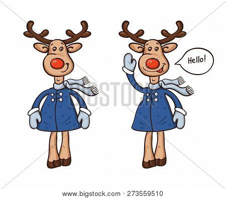 Two Deer In A Coat And A Scarf Cartoon Isolated On White Background