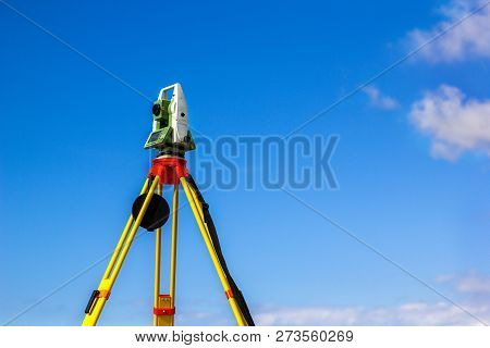 Survey Instrument Geodetic Device, Total Station, Close Up.