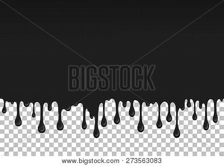 Black Dripping Slime Seamless Pattern. Petroleum Background With Copy Space. Kids Sensory Toy Vector