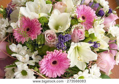 Bouquet Of Flowers Pink Roses, White Chrysanthemums, Light Striped Alstroemeria, Gerberas Close-up