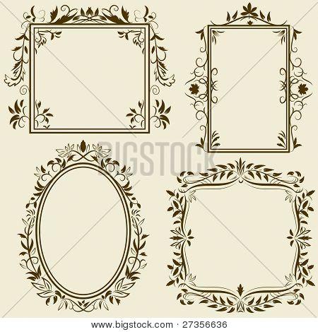 Set Of Vintage Frames With Floral Ornament