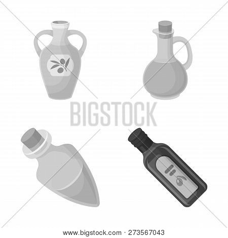 Vector Design Of Food  And Bung Sign. Collection Of Food  And Oil  Stock Vector Illustration.