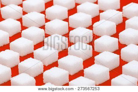 White Sweet Sugar Cubes Seamless Pattern - Red Background
