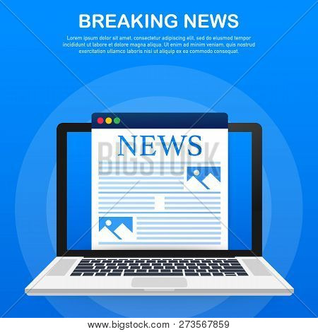 News Background, Breaking News, Vector Infographic With News Theme. Vector Stock Illustration.