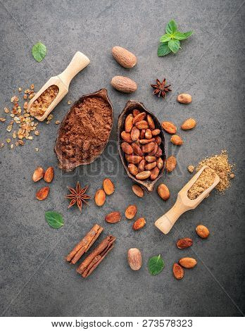 Cocoa Powder And Cacao Beans On Stone Background.