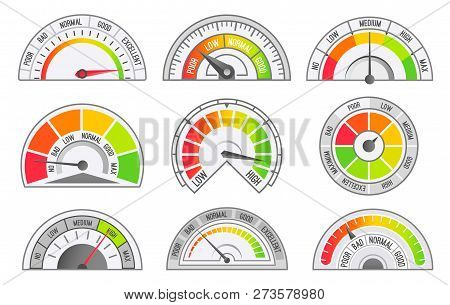 Speedometer And Odometer Scales And Pointers Isolated Icons Set Vector. Tachometer For Measurement O