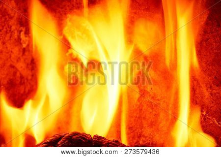 Wood Log On The Fire - Background With Space For Text.