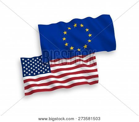European Union And American Flags Isolated On White Background. Vector Illustration Of The Eu Und Us