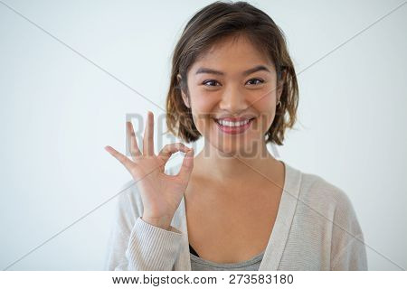 Portrait Of Cheerful Young Woman Showing Ok Symbol. Asian Girl Gesturing Alright. Satisfaction Conce