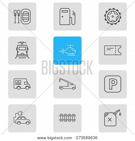 Vector Illustration Of 12 Transportation Icons Line Style. Editable Set Of Eco Car, Campervan, Helic