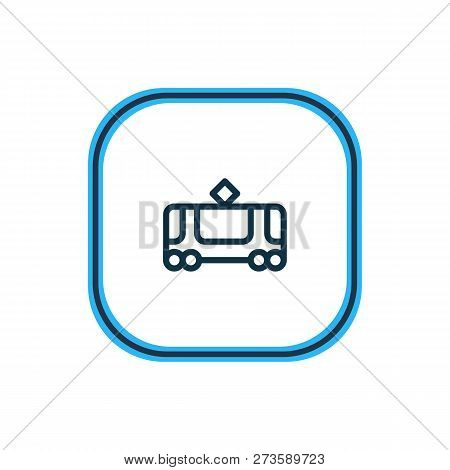 Vector Illustration Of Tram Icon Line. Beautiful Transport Element Also Can Be Used As Tramway Icon