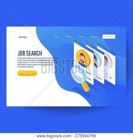 Isometric Interview With The Candidate, Job Recruitment, Job Opportunity. Searching Professional Sta