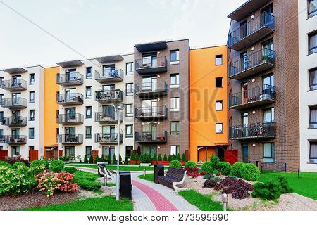 Modern Residential Apartment Home Complex Block With Outdoor Facilities Concept.