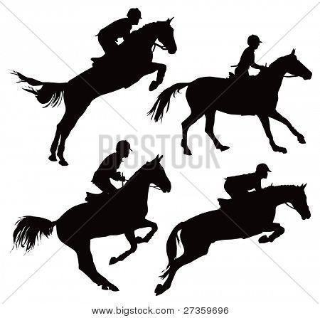 Jumping horses with jockey. Vector illustration on white.
