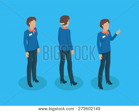 Teacher In Uniform, Working Concept Vector Icons. Woman Standing In Strict Suit, With Badge And Crav