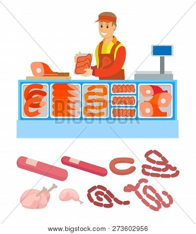 Supermarket Store, Butchers Department With Meal Variety Set Vector. Pork And Meat, Sausages And Fra
