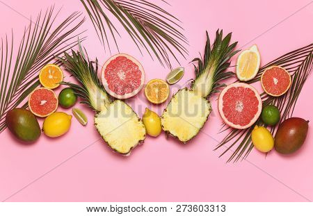 Various Tropical Fruits Composition With Palm Leaves Decoration, Flat Lay Summer Background