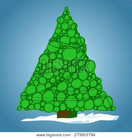 Christmas Tree Of Balls, Hand-drawn, Vector Illustration