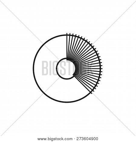 Black & White Illustration Of Knitting Crochet Pom Pom Maker. Vector Line Icon Of Pompom Fluff Ball