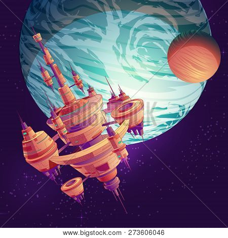 Future deep space exploration cartoon vector with intergalactic space station, colony or metropolis flying on Earth or exoplanet orbit illustration. Futuristic extraterrestrial starship among stars poster
