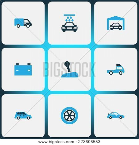 Auto Icons Colored Set With Stick, Crossover, Truck And Other Gear Lever Elements. Isolated Vector I