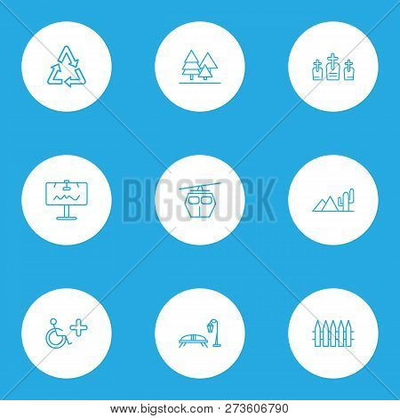 Public. Skyline Icons Line Style Set With Wooden Fence, Bench With Streetlight, Cemetery And Other R